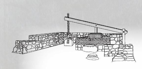 Лостово-винтова преса във винарната. Реконструкция: Мартин Вълчев