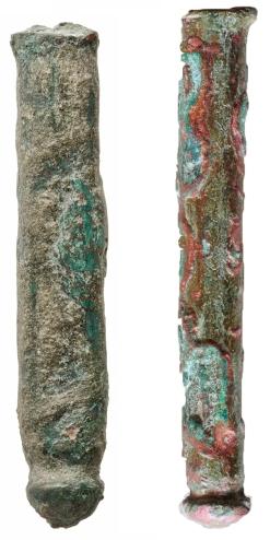 Бронзови инструменти / златарски печати или щампи от разкопките на нос Свети Атанас