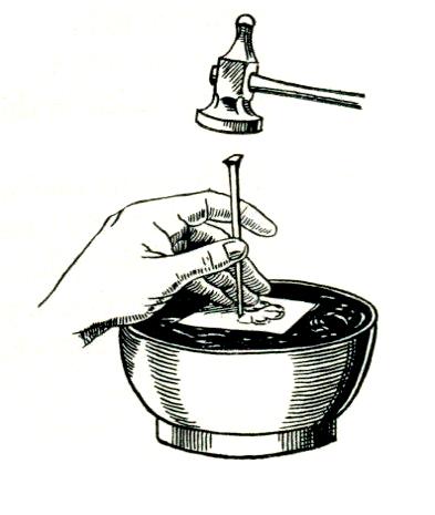 Графична възтановка на техниката на работа със златарски печати или щампи